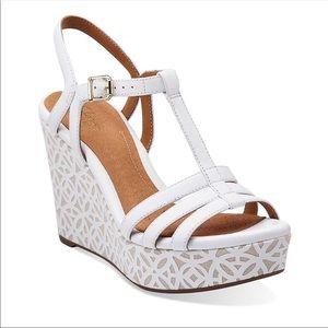 "Clarks ""Amelia"" white wedge sandals. New"
